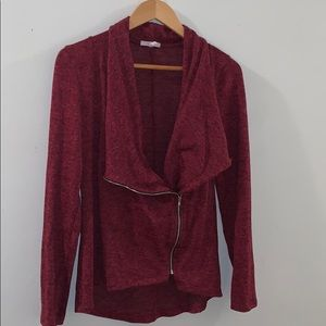 Maurices maroon red heather knit drape jacket
